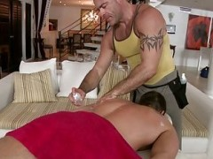 concupiscent Masseur Using Tongue, sextoy & cock