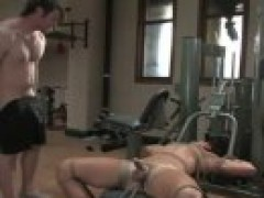 Two Muscle homosexuals bondage fuck In Gym