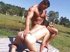 Hunks screwing at the lake