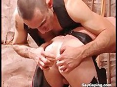 Two fetish gays in leather masturbate and slam their anales - hardcore sex movie - Tube8.com