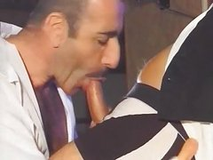 sweet Bartender receives oral-stimulation job