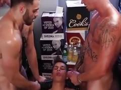 lusty Threeway homosexuals hammering