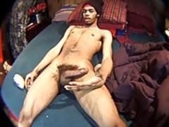 black man Jacks Off Alone On The bed