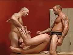 Three dudes fucking hard in the locker room.