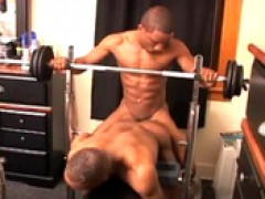 Fit humongous ramrod dark fellows fuck on bench