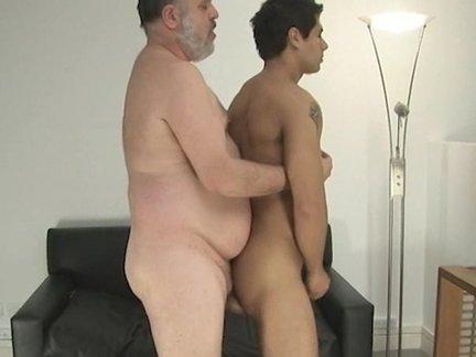 chubby daddy pokes A boy