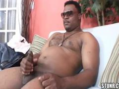 cool dark man With chubby knob Masturbates