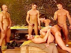 Six brawny Smatureier mans Make cute orgy In The Clbootyroom