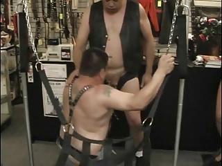 fat men In Store Room hammering pooper