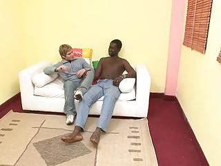 black fellow pounding White boy