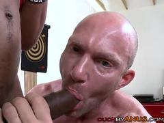 Bald White Muscle Hunk receives Shafted By BBC