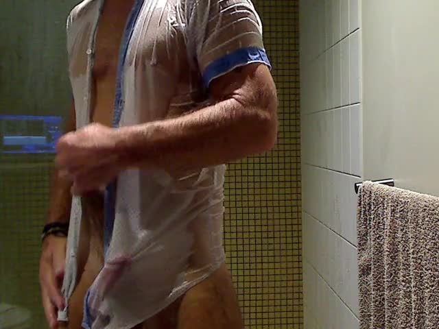 receiveting wet In Shirt Jeans And beneathwear In The Shower