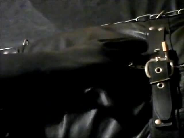 Wearing A Rubber Cat Suit Inside A Leather Body Bag handcuffed To The bed, Hooded And Gagged, Then Teased For Two Hours Until he cum.