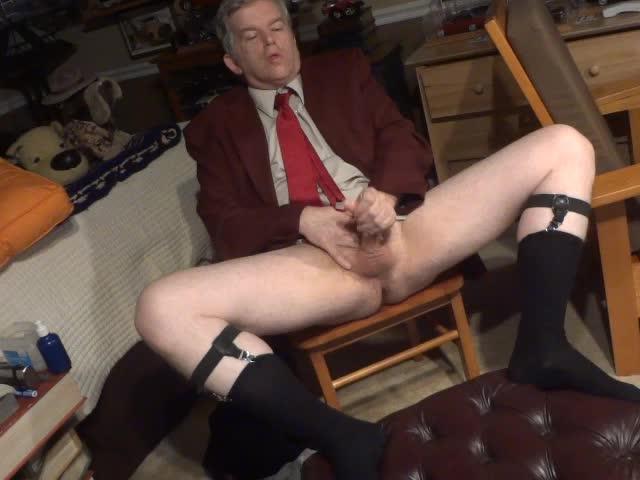 Masturbating In Coat And Tie