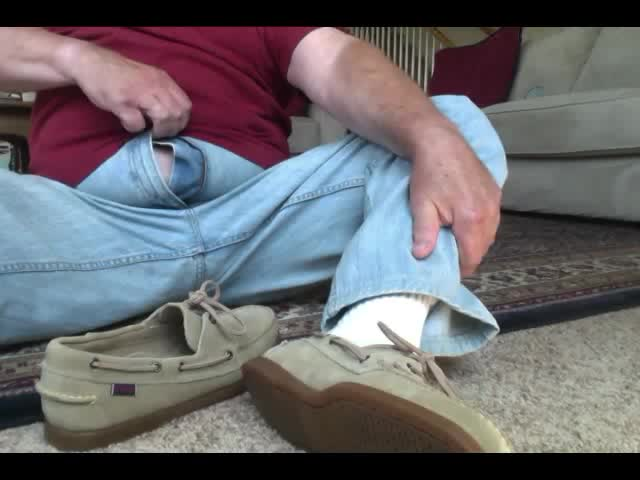 here I am Wearing My young Beige Suede Sebago Docker Boat Swhores.  They actually Feel Great On My Feet And Make My cock Tingle Just Wearing them.  I