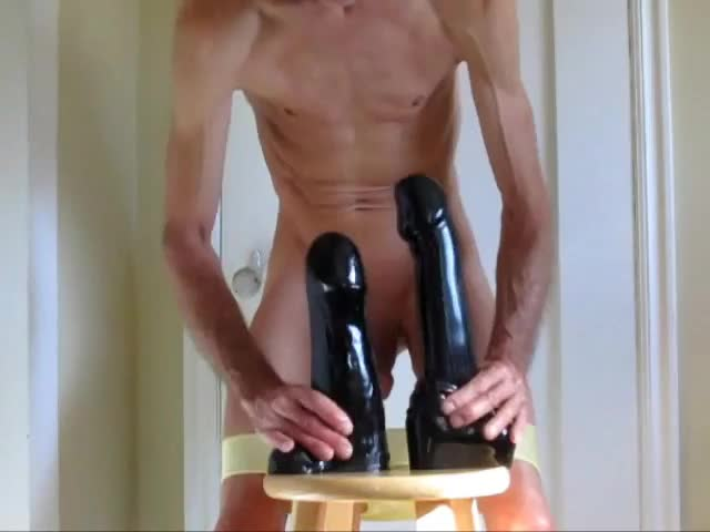 All Great With Two In The anal With Fists, dick, Or humongous toys Pulling My panties Down For Double analhole  With humongous dark dildos.