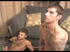 Two Straight men receive sucked