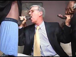 mature man receives Two black ramcocks