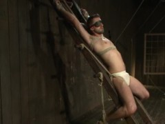 tied Up gay To A bondage Ladder receives howdys
