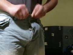 ballbusting game with tennis ball in jeans