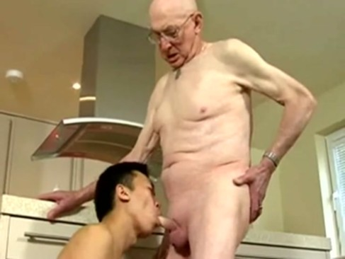 Skinny oriental twink And White grandpa