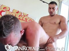 ManRoyale bare Workout Leads To shove-up Blowjobs