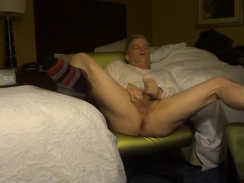 Rubbing One Out At The Hotel Wearing Striped Socks