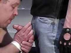 A Large bound guy sucks Off A clothed chap