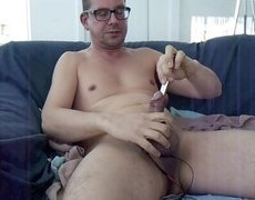 Electro Stimulation And 16, 17mm Sounding And Some 18mm Training. Masturbation love juice Session.