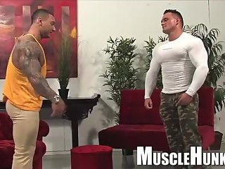 Musle Tattooed males Jerking dicks