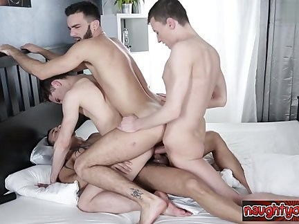 Muscle guys Brutal group bang