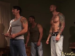Muscly Hung Hunk trio sperm