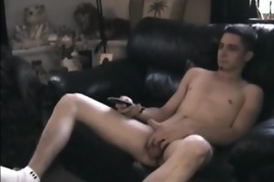 guy Busts His Roomy Whacking Off And Helps
