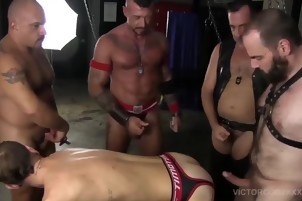 males In Leather Gear Do Some Barebacking In pleasure Chamber