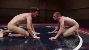 gigantic penises And Slippery Holds In Oil Wrestling Match
