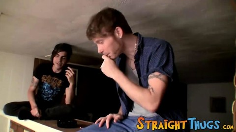 shaggy Chested twink With Emo Hairdo jerking off With Buddies