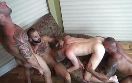 Tattooed boys slamming poopers brutaly.