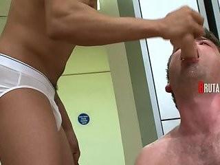 twink engulfing penis & Licking A fake penis