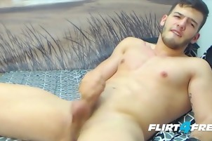 Bearded Hunk Cums supplementary Hard With An OhMiBod Up His butthole