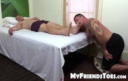 Tattooed And muscular Hunk Swallows His best Blokes Feet
