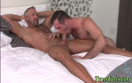 stud homo acquires sperm overspread Slurping Off daddy stud