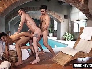Tattoo gays trio And cumshot