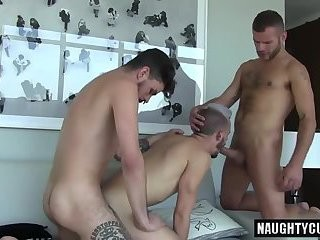 sleazy Daddy double penetration And cumshot