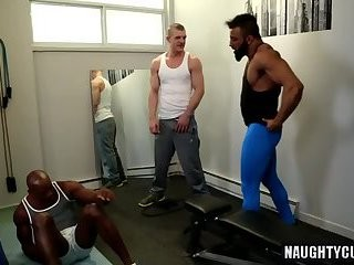 giant penis homosexual males three-some And ball cream flow