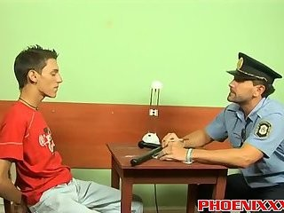 Police Officer Roberts pokes wild teen Ian On A Office Desk