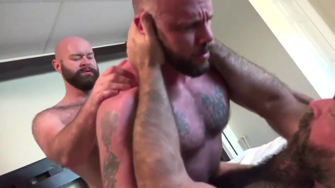 three Muscle Bear Daddies unprotected plow