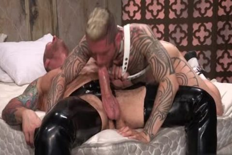 Tattoo'd Muscle Beefcakes With Bum Love Behind banging Fetish lick penis And Take A cumshot