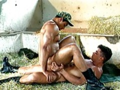 Army men dril Each Others a-holees In A Stable