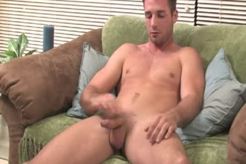 man Moans From joy whilst Jerking His large plump penis