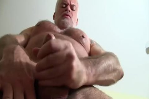 daddy hairy man Jerks Off His cock On The sofa
